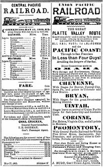 Display ads for the CPRR and UPRR the week the rails were joined on May 10, 1869