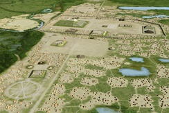 Artist's conception of the Mississippian culture Cahokia Mounds Site in Illinois.