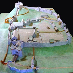 A reconstruction of Carisbrooke Castle during the 14th century