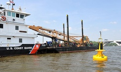 The Coast Guard Cutter USCGC Sledge (WLIC-75303), a 75-foot construction tender homeported in Baltimore.