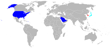 Current operators of the F-15 in light blue, F-15E Strike Eagle in red, both in dark blue