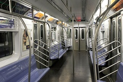 Interior of an R142A car on the 4 train
