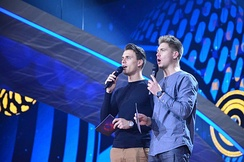 Hosts Volodymyr Ostapchuk and Oleksandr Skichko (from rehearsal)