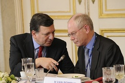 Having both a Commission president (Barroso, left) and a European Council president (Van Rompuy, right) led to concerns over confusion and infighting