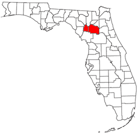 Location of the Gainesville Metropolitan Statistical Area in Florida