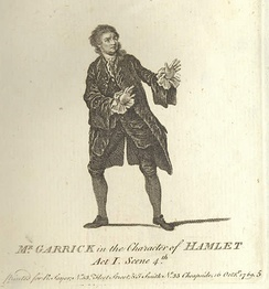 David Garrick as Hamlet in 1769. The iconographic hand gesture expresses his shock at the first sight of the ghost.