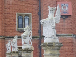 The King's Beasts, on the bridge before the Great Gatehouse, Hampton Court