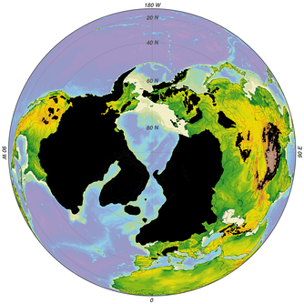 Maximum glaciation of the northern hemisphere (black) during the Quaternary climatic cycles