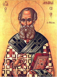 St. Athanasius, depicted with a book, an iconographic symbol of the importance of his writings.