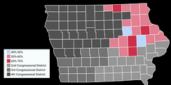 Map showing the results of the 2016 election in Iowa's First congressional district by County