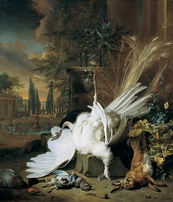 Jan Weenix, Still Life with a Dead Peacock (1692), set in the gardens of a large country house.