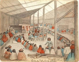 Watercolor by James G. Swan depicting the Klallam people of chief Chetzemoka at Port Townsend, with one of Chetzemoka's wives distributing potlatch