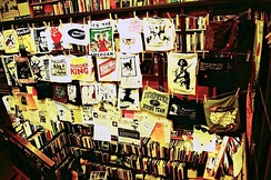 Interior of the Left Bank Books infoshop in Seattle, Washington in 2006. An infoshop is a nexus for information exchange among anarchists.