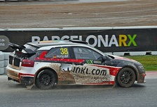 An Audi S3 driven by Mandie August in the FIA European Rallycross Championship