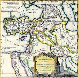 Map of the Near East by Robert de Vaugondy (1762), indicating Canaan as limited to the Holy Land, to the exclusion of Lebanon and Syria