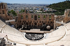 View of the Odeon of Herodes Atticus in 2012. Sets for Tosca performed by the Greek National Opera