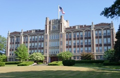 The former Chicopee High School, now the DuPont Memorial Middle School serving grades 6 through 8