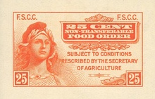 An effort to manage agricultural surpluses, the first food stamps came off the presses April 20, 1939.