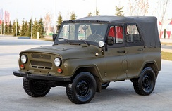A typical Soviet military jeep UAZ-469, used by most countries of the Warsaw Pact