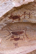 Rock art at Serra da Capivara National Park, one of the largest and oldest concentrations of prehistoric sites in the Americas.[28]