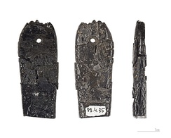 Three views of a prehistoric pendant in lignite/jet; Magdalenian culture (17,000–10,000 BCE), from the Marsoulas cave, Marsoulas, Haute-Garonne, France (Muséum de Toulouse)