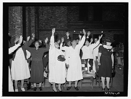 Women in a Pentecostal worship service