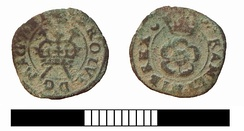 Farthing of Charles I, showing a crown over two sceptres in saltire on the obverse. The two sceptres represent the two kingdoms of England and Scotland.[88]