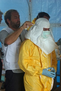 CDC and MSF staff preparing to enter an Ebola treatment unit in Liberia, August 2014