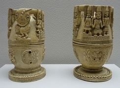 Carved ceremonial ivory containers from the Yoruba polity of Owo, which flourished 1400–1600