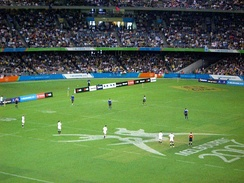 "The Commonwealth Games are the third-largest multi-sport event in the world, bringing together globally popular sports and peculiarly ""Commonwealth"" sports, such as rugby sevens, shown here at the 2006 Games."