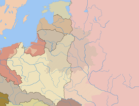 Poland after the Peace of Riga with the pre-partition borders of the Polish-Lithuanian Commonwealth also indicated