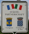 Coats of arms of Weinsberg's twin towns Carignan, France and Costigliole d'Asti, Italy