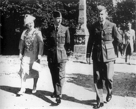Air Chief Marshal Sir Hugh Dowding accompanying King George VI and Queen Elizabeth during a visit to Bentley Priory in September 1940.