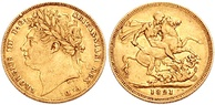 a gold coin, a British sovereign depicting the depiction of a man's head on one side and St George and the Dragon, dated 1821