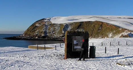 "St Bees: Start of the C to C in winter (The ""Wainwright wall"" in foreground)"