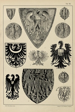 Examples of heraldic eagles, from Hugo Gerard Ströhl's Heraldischer Atlas