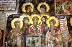 Medieval icon by Kostandin and Athanas Zografi in the Monastery of Ardenica. It illustrates the seven saints Clement, Naum, Sava, Angelar, Gorazd, Cyril, Method and the Albanian Jan Kukuzeli.