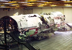TWA Flight 800 wreckage, as reconstructed by the NTSB