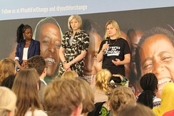 May and Justine Greening speaking at Youth For Change, 19 July 2014
