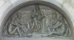 Olin Levi Warner, Tradition (1895). Bronze tympanum over the main entrance, Library of Congress, Thomas Jefferson Building, Washington, D.C.