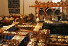 A traditional Indonesian gamelan orchestra, composed almost entirely of percussion instruments