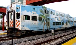 Tri-Rail is Miami's commuter rail that runs north-south from Miami's suburbs in West Palm Beach to Miami International Airport.
