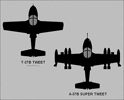 "Dorsally projected diagram of the T-37B ""Tweet"" and A-37B ""Super Tweet""."