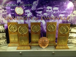 The memorial display case at the Ford Center honoring UE's championship tradition