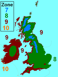 Hardiness zones in the British Isles. Based on the USDA system and used to indicate growing conditions for plants.