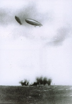 Italian dirigibles bomb Turkish positions in Libya, as the Italo-Turkish War of 1911–1912 was the first in history in which air attacks (carried out here by dirigible airships) determined the outcome.