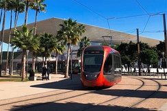 A tram on Casablanca's T1 line passes in front of Casa-Voyageurs railway station.