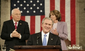 President George W. Bush during the 2008 State of the Union speech, with Vice President Richard B. Cheney and House Speaker Nancy Pelosi.