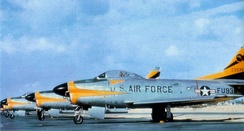 North American F-86D-45-NA Sabres of the 496th Fighter Interceptor Squadron. Serial 52-3938 is in front. After the transition to the F-102 in 1959, this aircraft was transferred to the Japanese Self-Defense Air Force.