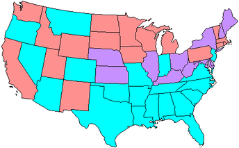 Map showing Senate party membership at the start of the 62nd Congress. Red states are represented by two Republicans and blue by two Democrats. Purple states are represented by one senator from each party.